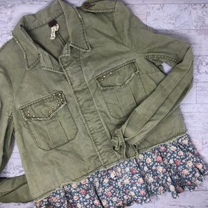 We the Free Green Utility & Floral Peplum Jacket